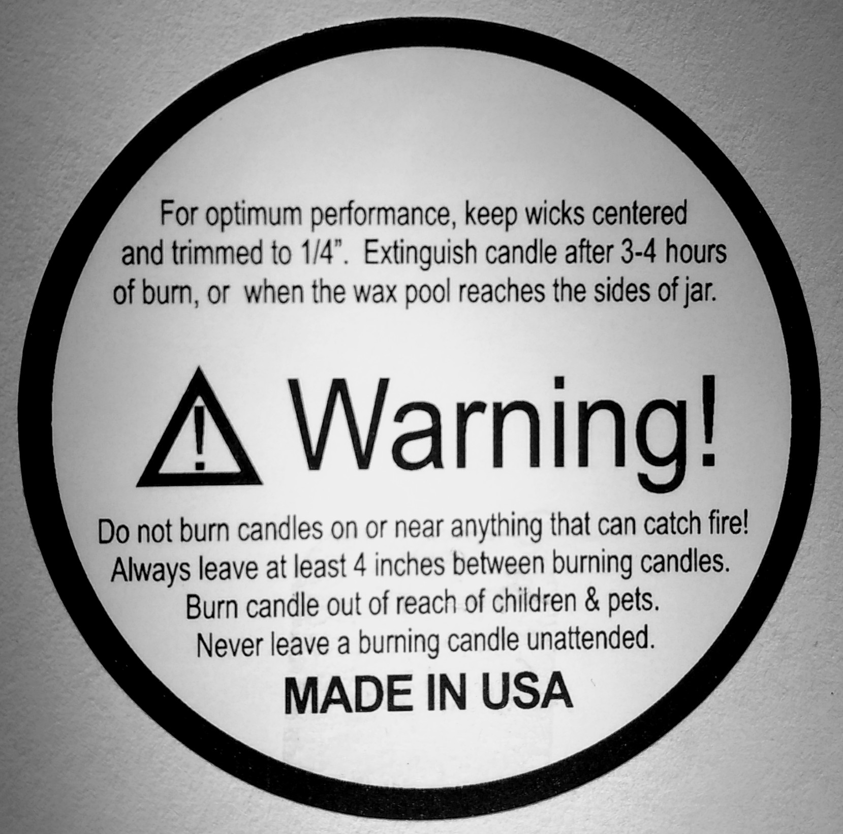 Warning Labels American Candle Supplies