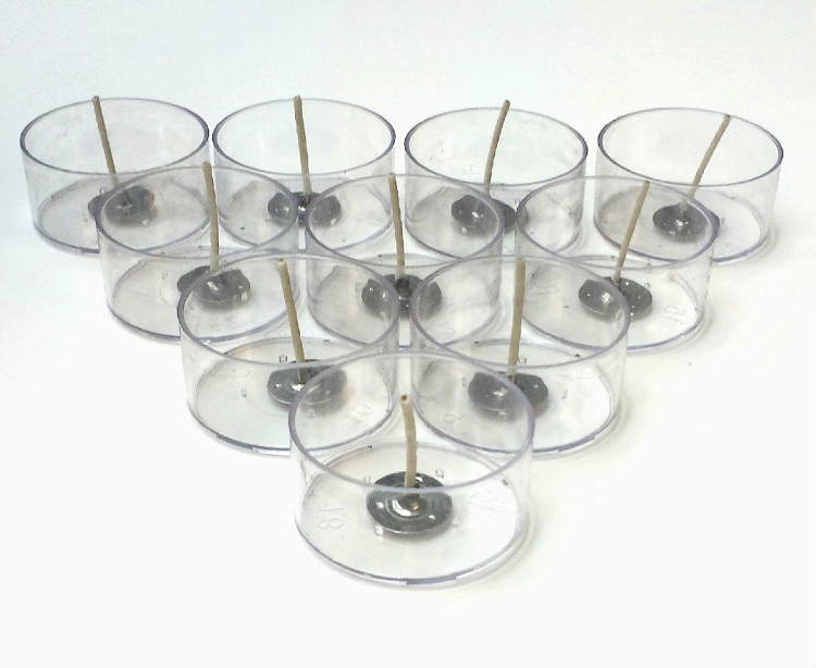 Polycarbonate Tealight Cups & Wicks Kit